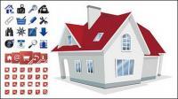 Дом с 2 комплекта материалов вектора значок утилиты
