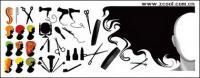 Парикмахерские серии элемента вектора материал