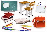 Escuela estudiantes suministra material de vectores