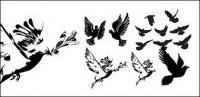 Merpati hitam-putih atau siluet vektor bahan