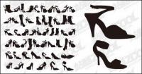 Variété de chaussures de mode pour le matériel de vecteur de silhouette femmes