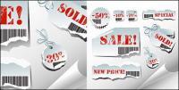 찢어진 판매 태그 벡터 소재