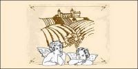 Matériel de vecteur de dessin au trait Cupidon et Eros Manor