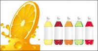 オレンジ ジュースのボトルと空のベクター素材
