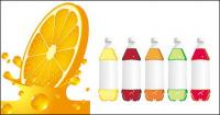 Botol air jeruk dan vektor kosong bahan