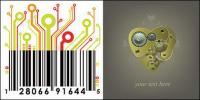Mechanische Herz und Platine Material Barcode-Vektor