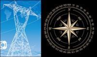 แรงดันไฟฟ้าสูงสายชั้นและเข็มทิศ vector วัสดุ