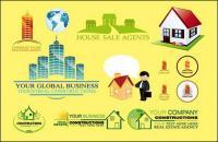 Material de vetor casa real estate logotipo modelo