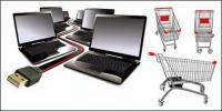 Laptop und Cart-Vektor-material