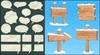 Papier bulle de dialogue et de signes matériels de grain du bois modèle vectoriel