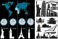 세계적으로 유명한 건축과 시간대 벡터 소재