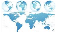 Kristall blaue Erde Welt Karte Vektor-material