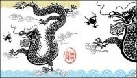 Matériau de vecteur de dragon chinois en noir et blanc