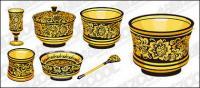 Material de vetor padrão clássica série -1 - utensílios de ouro