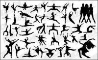 Pessoas silhouette variedade de vetor de material de dança