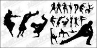 Dança de silhueta vector pessoas move material