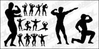 Matériau de vecteur culturisme action figure silhouette