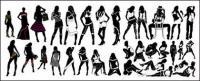 Variété de matériel de vecteur à la mode silhouette féminine