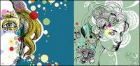 แนวโน้มของจิตรกรภาพประกอบหญิงเวกเตอร์วัสดุ
