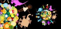 子供動物花素材をベクトルします。