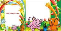 Linda imagen de animal colorido marco vector de material