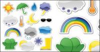 Ikon gaya vektor stiker cuaca bahan
