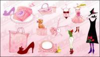 Feminino-de-rosa ícone vector material-1