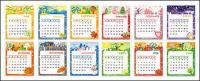 Material de vector de plantilla de calendario encantadora