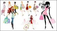 Mode shopping filles vecteur matériel