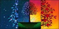 Colorful trees vector material