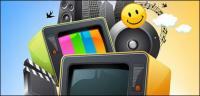 Vector colorful multimedia material