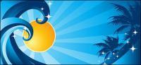 Кокосового дерева солнце волны вектор материал