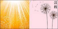 タンポポと光のベクトルの背景素材