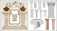 ยุโรปสไตล์คลาสสิกคอลัมน์รูปแบบเวกเตอร์วัสดุ