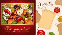 Cartazes de cartaz do alimento vegetal material vector