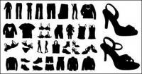 ベクトルのシルエットの服や靴