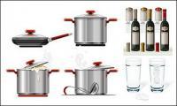 Matériau de vecteur de vaisselle en verre de vin rouge