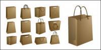 材料の空のベクターのクラフト ペーパー バッグ