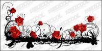Pola mawar yang indah vektor bahan