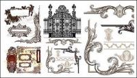 Variété de pratiques de style européen dentelle patron vecteur matériel
