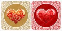Material de vetor do cristal belo estilo padrão em forma de coração