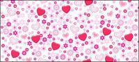 Material de apoio de vetor adorável flores em forma de coração
