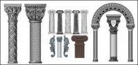 Количество Европейского стиля Классические столбцы модели векторного материала