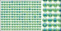 Vários símbolos do ícone de botão verde crystal ball vector material