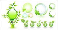 Tema de iconos de vector de materiales respetuosos de hojas verdes