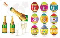 Шампанское и пасхальные яйца векторного материала