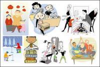 Variedad de dibujos animados personajes cartoon vector ilustración material