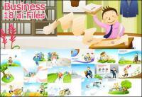 Business Bücher Cartoons 18 Element Vektor-material