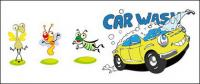 Insectos y cartoon coche vector de material