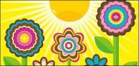 น่ารักดอกไม้ วัสดุเวกเตอร์ของดวงอาทิตย์